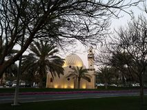 Small mosque in sunset during ramadan