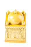 Small mosque. A yellow ceramic small mosque model isolated over a white background Stock Image
