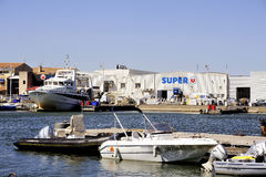 Small motor boat dock Royalty Free Stock Images