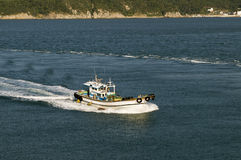 Small motor boat speeds by sea Royalty Free Stock Photo