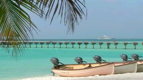 Small motor boats at sand beach tropical shore palm tree coastline wooden bridge in steady Maldives island seascape. Small motor boats at sand stock video