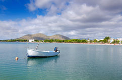 Small motorboat in Majorca bay Royalty Free Stock Photos