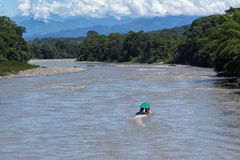 Small motorboat on the Napo river Stock Images