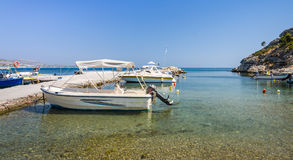 Small motorboats in Greek harbor Royalty Free Stock Photos