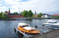 Small motorboats Nissan river Halmstad Sweden. Royalty Free Stock Photography