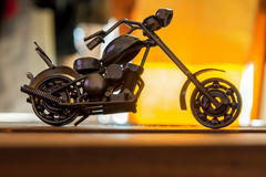 Small motorcycle made from nuts and bolts Royalty Free Stock Photos
