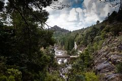 Small mountain bridge over a creek from the Peneda Geres National Park, north of Portugal royalty free stock image