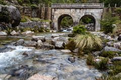 Small mountain bridge over a creek from the Peneda Geres National Park, north of Portugal stock photos