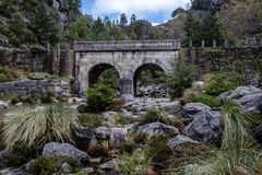 Small mountain bridge over a creek from the Peneda Geres National Park, north of Portugal.  stock image