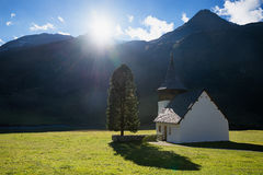 Small mountain chapel and high fir tree, valley with sunshine Royalty Free Stock Photography
