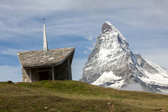 A small mountain chapel with the Matterhorn Royalty Free Stock Photo