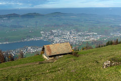 Small mountain house and Panoramic view to Lake Luzerne, Switzerland Stock Photography