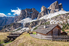 Small mountain hut in the dolomites at sunrise, Italy, Europe Royalty Free Stock Image