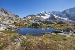 Small mountain lake long an high path in South Tyrol Stock Photo
