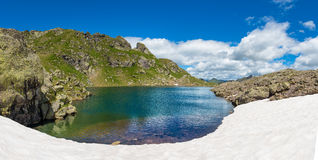 Small mountain lake with snow Royalty Free Stock Images