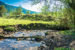 A small mountain river. Landscape with small mountain river on a Sunny day. Abkhazia stock photos