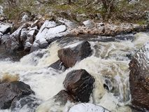Small mountain river in winter east Norway. royalty free stock photo