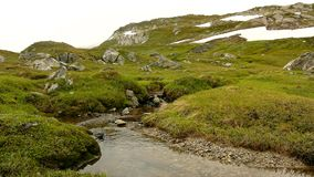 Small mountain stream in Alps, water is running over stones in fresh green meadow. High alps peaks in background.