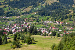 Small mountain touristic town. View over small mountain touristic town in Romania stock images