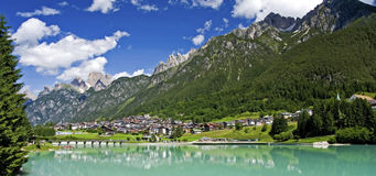 Small Mountain Town of the Dolomites. The small town of Auronzo in the Dolomites in Northern Italy Stock Photos
