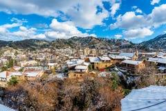 A small mountain village of Kakopetria covered in snow. Nicosia Stock Image