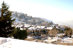 Small Mountain Village. Small mountain village in the middle of winter Royalty Free Stock Photography