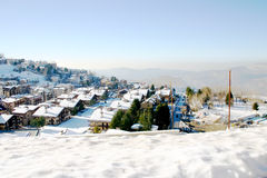 Small Mountain Village. Small mountain village in the middle of winter Royalty Free Stock Image