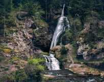 Small mountain waterfalls inside forest. Scenery landsape. Desat Royalty Free Stock Photo