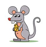 Small mouse holds vector illustration