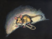 Small mouse with paperclip illustration. Ink and watercolor illustration of a small mouse walking over a paperclip. The mouse appears startled to be caught in a stock illustration