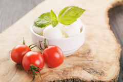 Small mozzarella balls in white bowl with plum tomatoes Royalty Free Stock Photo