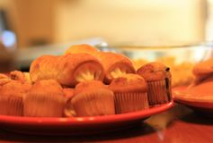 Small muffins and pastry assortment royalty free stock photography