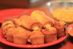 Small muffins and pastry assortment stock photography