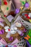 Easter decoration made from children. Small multi colored arrangement to decorate the house for Easter, made from children Royalty Free Stock Images