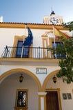 Small multicolor plaza. With lemon trees, Rosa de la frontera, Andulucia, Spain Stock Images