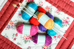 Small multicolored balls of wool Royalty Free Stock Image