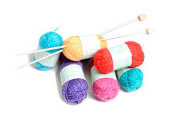 Small multicolored balls of wool Royalty Free Stock Photos