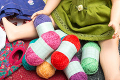 Small multicolored balls of wool Royalty Free Stock Photography