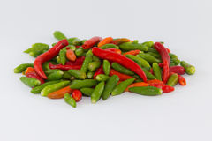Small multiple color chilies ready for cook Royalty Free Stock Image