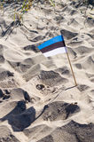 Small National flag of Estonia sticked in sand Royalty Free Stock Photos