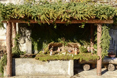 Small nativity scene in wash house at Crodo, Ossola Royalty Free Stock Photo