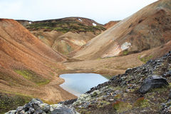Small Natural Glacial Pond. A small, naturally created pond, surrounded by glacial deposits in Iceland Royalty Free Stock Photo