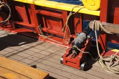 Small naval cannon on board Royalty Free Stock Photo