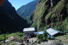 small Nepali village in a green valley Stock Photography