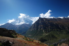Small Nepali village in the mountains. The around Annapurna trek in Nepal Stock Images