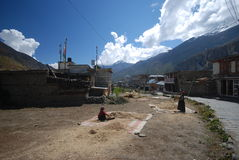 Small Nepali village in the mountains Stock Image