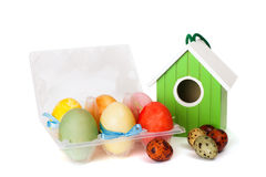 A small nesting box with colored eggs Royalty Free Stock Image