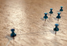Small network of pins (Thumbtack). Background suggesting a network of connections. Linking entities. 3D rendering Royalty Free Stock Photo