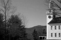 Small New England town common with church and mountain Stock Photos