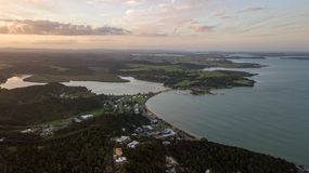Waitangi Treaty Grounds At Sunset Aerial. Small New Zealand town in the bay of islands, paihia is close the waitangi treaty grounds and is a popular holiday Stock Images